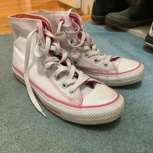 Converse pink and orange high tops sneakers
